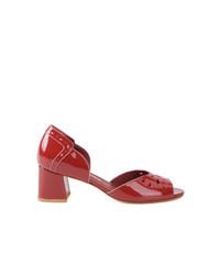 Sandalias de tacón de cuero rojas de Sarah Chofakian