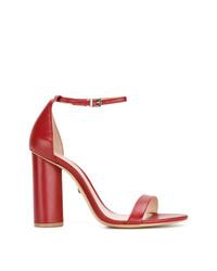 Sandalias de tacón de cuero rojas de Schutz