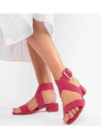 Sandalias de tacón de cuero rosa de ASOS DESIGN