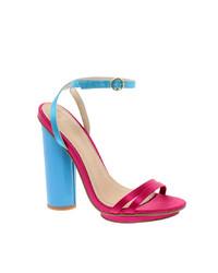 Sandalias de tacón de cuero rosa de Asos