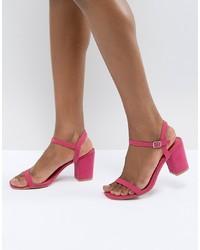 Sandalias de tacón de cuero rosa de Glamorous