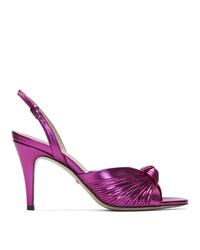Sandalias de tacón de cuero rosa de Gucci