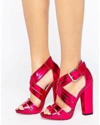 Sandalias de tacón de cuero rosa de Little Mistress