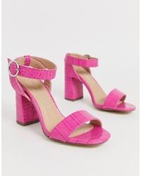 Sandalias de tacón de cuero rosa de New Look