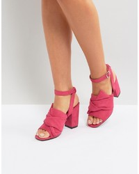 Sandalias de tacón de cuero rosa de Park Lane
