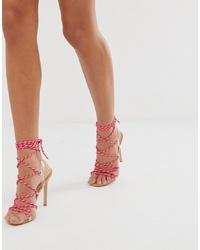 Sandalias de tacón de cuero rosa de Public Desire