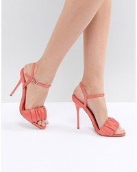 Sandalias de tacón de cuero rosadas de ASOS DESIGN