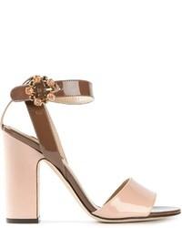 Sandalias de tacón de cuero rosadas de Dolce & Gabbana