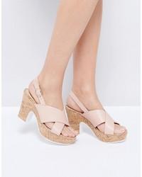 Sandalias de tacón de cuero rosadas de Dune
