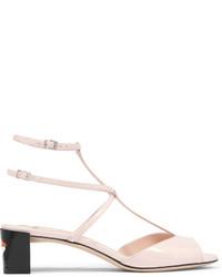 Sandalias de tacón de cuero rosadas de Fendi
