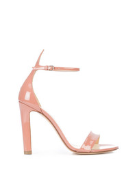 Sandalias de tacón de cuero rosadas de Francesco Russo