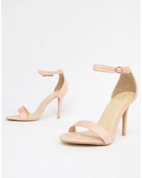 Sandalias de tacón de cuero rosadas de Glamorous