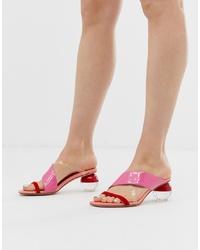 Sandalias de tacón de cuero rosadas de Jeffrey Campbell