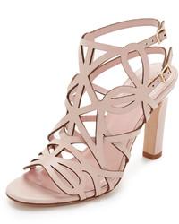 Sandalias de tacón de cuero rosadas de Kate Spade