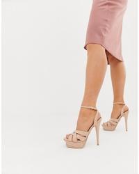 Sandalias de tacón de cuero rosadas de Lipsy