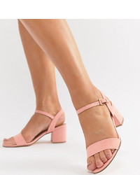 Sandalias de tacón de cuero rosadas de London Rebel