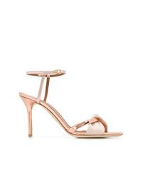 Sandalias de tacón de cuero rosadas de Malone Souliers