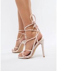 Sandalias de tacón de cuero rosadas de Missguided