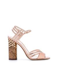 Sandalias de tacón de cuero rosadas de Nicholas Kirkwood