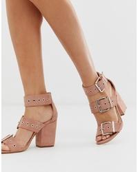 Sandalias de tacón de cuero rosadas de Public Desire