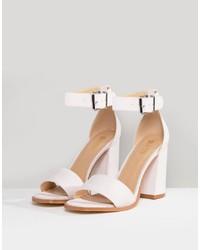 Sandalias de tacón de cuero rosadas de RAID