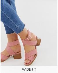 Sandalias de tacón de cuero rosadas de Raid Wide Fit