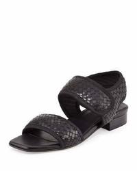 Sandalias de tacón de cuero tejidas negras