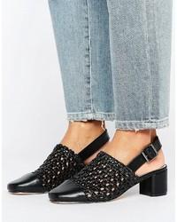 Sandalias de tacón de cuero tejidas negras de Asos