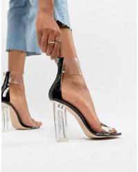 Sandalias de tacón de cuero transparentes de Public Desire