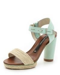 Sandalias de Tacón de Cuero Verde Menta de Matt Bernson