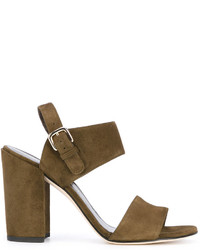 Sandalias de tacón de cuero verde oliva de Stuart Weitzman