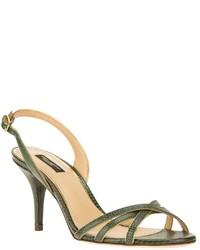 Sandalias de Tacón de Cuero Verde Oscuro de Dolce & Gabbana
