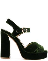 Sandalias de tacón de cuero verde oscuro de Tory Burch