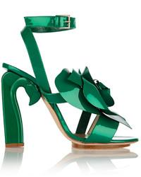 Sandalias de tacón de cuero verdes de DELPOZO