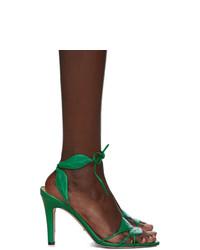Sandalias de tacón de cuero verdes de Gucci