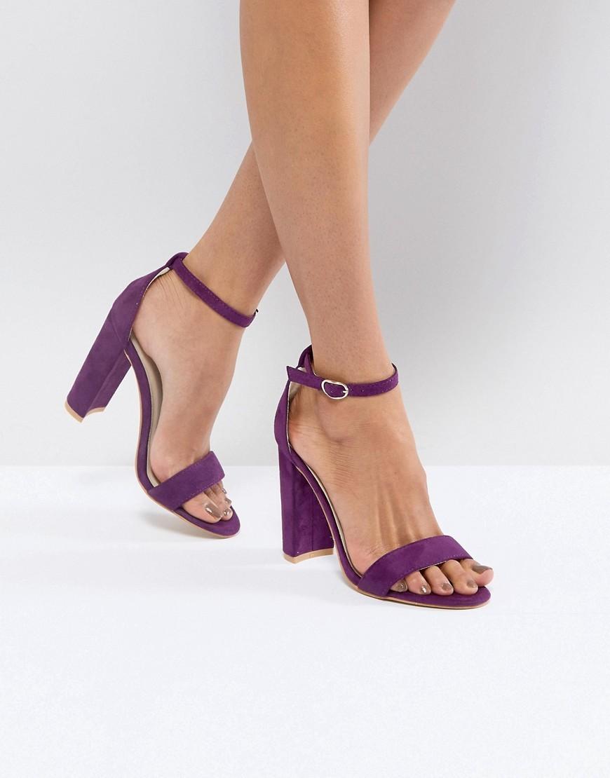 Cuero Violeta Sandalias De Tacón Claro Glamorous vmn08wON