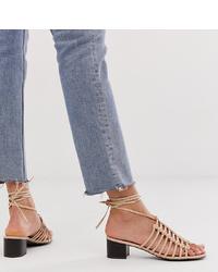 Sandalias de tacón de cuero violeta claro de New Look