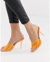 Sandalias de tacón de goma naranjas de Public Desire