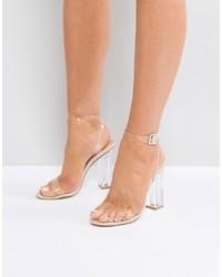 Sandalias de tacón de goma transparentes de Public Desire