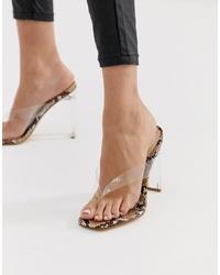 Sandalias de tacón de goma transparentes de SIMMI Shoes