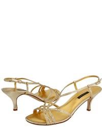 Sandalias de tacón de lentejuelas doradas