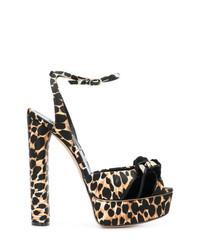 Sandalias de tacón de leopardo marrón claro de Casadei