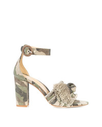 Sandalias de tacón de lona de camuflaje verde oliva de Marion Parke