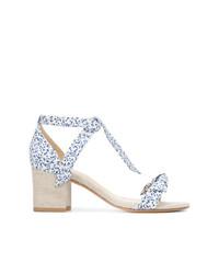 Sandalias de tacón de lona estampadas blancas de Alexandre Birman