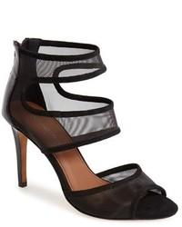 Sandalias de tacón de malla negras