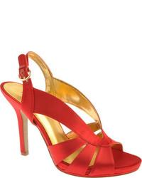 Sandalias de tacón de satén rojas