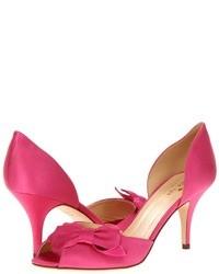 Sandalias de tacón de satén rosa