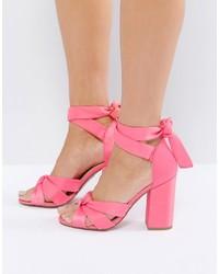 Sandalias de Tacón de Satén Rosadas de New Look