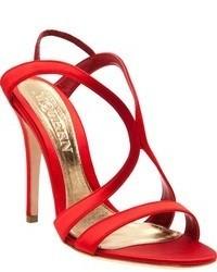 Sandalias de Tacón de Seda Rojas de Alexander McQueen