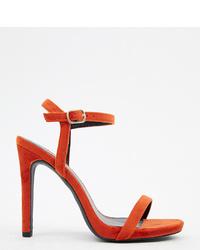 Sandalias de tacón de terciopelo rojas de New Look